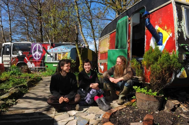 Three of the four remaining Faslane Peace Camp residents - Angus Chalmers, Julia Herzog, and Gwilym