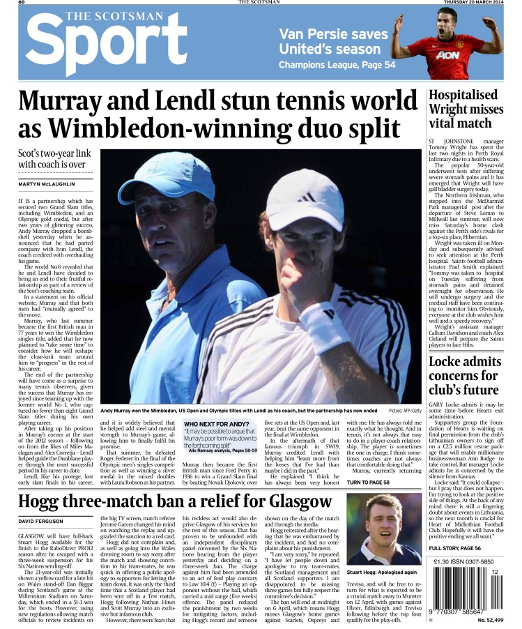 Andy Murray splits with coach Ivan Lendl