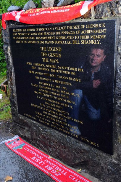 Robert Gillan, reflected in the memorial to Bill Shankly at Glenbuck. (Copyright Robert Perry / Scotland on Sunday)