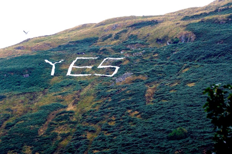 The Ayes complete their sign at the foothills of the Campsies. Picture: John Devlin. Copyright: The Scotsman